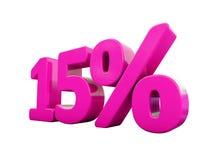 15 ρόδινο σημάδι τοις εκατό Στοκ Εικόνες