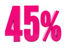 45 ρόδινο σημάδι τοις εκατό Στοκ Εικόνα