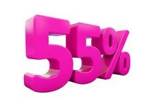55 ρόδινο σημάδι τοις εκατό απεικόνιση αποθεμάτων