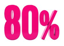 80 ρόδινο σημάδι τοις εκατό απεικόνιση αποθεμάτων