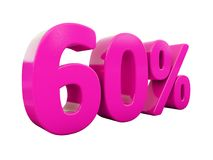 60 ρόδινο σημάδι τοις εκατό διανυσματική απεικόνιση