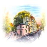 Ρόδινο σπίτι, Montmartre, Παρίσι, Γαλλία απεικόνιση αποθεμάτων