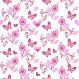 Ρόδινο σχέδιο λουλουδιών με τις πεταλούδες και τις καρδιές Στοκ Εικόνες