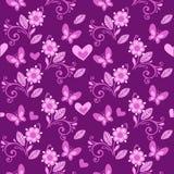Ρόδινο σχέδιο λουλουδιών με τις πεταλούδες και τις καρδιές Στοκ φωτογραφία με δικαίωμα ελεύθερης χρήσης