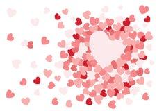 Ρόδινο σχέδιο σχεδίου καρδιών στο άσπρο υπόβαθρο διανυσματική απεικόνιση
