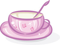ρόδινο τσάι φλυτζανιών διανυσματική απεικόνιση