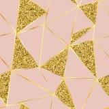 Ρόδινο υπόβαθρο με τις χρυσά γραμμές και τα σπινθηρίσματα διανυσματική απεικόνιση