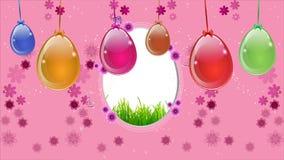 Ρόδινο υπόβαθρο Πάσχας με ένα κρεμώντας αυγό φιλμ μικρού μήκους