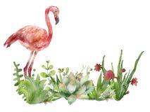 Ρόδινο φλαμίγκο watercolor, ζωγραφισμένη στο χέρι απεικόνιση με το ρόδινο φλαμίγκο ελεύθερη απεικόνιση δικαιώματος