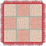 Ρόδινο χαλί γιόγκας με το περιθώριο Τετραγωνική κουβέρτα στο κλουβί απεικόνιση αποθεμάτων