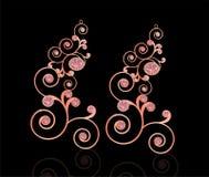 Ρόδινο χρώμα χαλκού σκουλαρικιών με το ρόδινο διαμάντι Στοκ φωτογραφία με δικαίωμα ελεύθερης χρήσης
