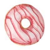 Ρόδινο doughnut με βερνικωμένος σε ένα άσπρο υπόβαθρο απεικόνιση watercolor για το σχέδιο απεικόνιση αποθεμάτων