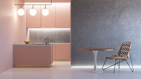 Ρόδινο minimalistic εσωτερικό κουζινών Στοκ φωτογραφία με δικαίωμα ελεύθερης χρήσης