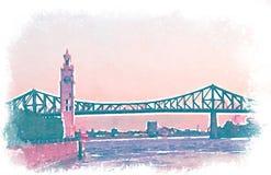 Ρόδινο watercolor μιας γέφυρας του Μόντρεαλ Στοκ Εικόνα