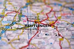 Ρόιτλιγκεν στο χάρτη Στοκ Εικόνες