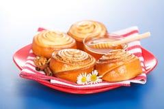 Ρόλοι και μέλι κανέλας Στοκ Εικόνες