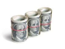 Ρόλοι των δολαρίων στοκ εικόνες