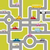 Δρόμος και άνευ ραφής σχέδιο μεταφορών Χάρτης κινούμενων σχεδίων των αυτοκινήτων Στοκ Φωτογραφίες