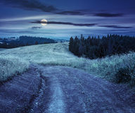 Δρόμος στο λιβάδι βουνοπλαγιών στο βουνό τη νύχτα Στοκ φωτογραφία με δικαίωμα ελεύθερης χρήσης