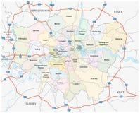 Δρόμος του μεγαλύτερου Λονδίνου και διοικητικός χάρτης Στοκ εικόνα με δικαίωμα ελεύθερης χρήσης