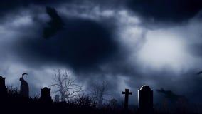 Ρόπαλα νεκροταφείων στο σεληνόφωτο απεικόνιση αποθεμάτων