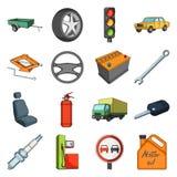 Ρόδα, γαλλικό κλειδί, γρύλος και άλλος εξοπλισμός Καθορισμένα εικονίδια συλλογής αυτοκινήτων στο διανυσματικό Ιστό απεικόνισης απ διανυσματική απεικόνιση