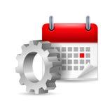 Ρόδα και ημερολόγιο εργαλείων διανυσματική απεικόνιση