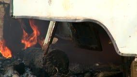 Ρόδα στους καπνούς πυρκαγιάς στο δάσος Στοκ Εικόνες
