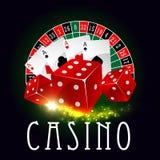Ρόδα χαρτοπαικτικών λεσχών της τύχης, διανυσματική αφίσα καρτών πόκερ Στοκ Εικόνα