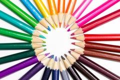 Ρόδα χρώματος που γίνεται ή μολύβια στοκ εικόνα