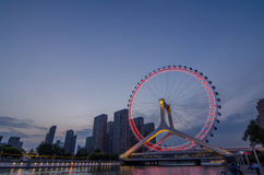 Ρόδα Ferris ματιών τοπίο-Tianjin πόλεων Tianjin Στοκ Εικόνα