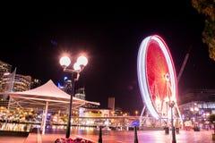 Ρόδα Ferris, μεγάλη ρόδα τη νύχτα Σίδνεϊ Στοκ Εικόνες