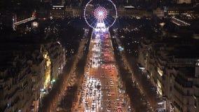 Ρόδα ferris του Παρισιού τη νύχτα απόθεμα βίντεο