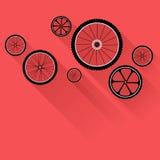 Ρόδες ποδηλάτων με τις επίπεδες σκιές Στοκ Φωτογραφίες