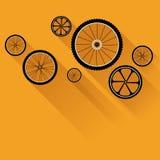 Ρόδες ποδηλάτων με τις επίπεδες σκιές Στοκ Εικόνες