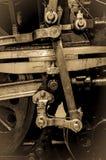 Ρόδες τραίνων ατμού - έμβολο και συνδέοντας ράβδοι Στοκ Φωτογραφία