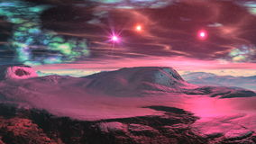Ρόδινα αστέρια ανατολής σε έναν χιονώδη πλανήτη απεικόνιση αποθεμάτων