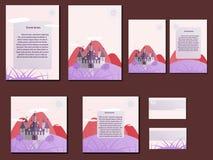 Ρόδινα ζωηρόχρωμα φυλλάδια, επαγγελματικές κάρτες με το σχέδιο κάστρων Στοκ φωτογραφία με δικαίωμα ελεύθερης χρήσης