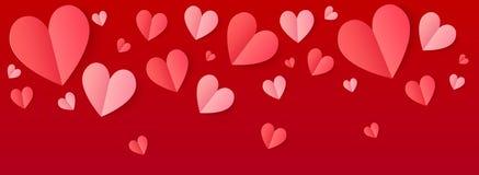 Ρόδινα και κόκκινα διπλωμένα σύνορα καρδιών εγγράφου διανυσματικά στο πορφυρό υπόβαθρο απεικόνιση αποθεμάτων