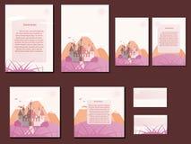 Ρόδινα και πορτοκαλιά ζωηρόχρωμα φυλλάδια κρητιδογραφιών, επαγγελματικές κάρτες με το σχέδιο κάστρων Στοκ Εικόνα
