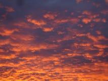 Ρόδινα και πορτοκαλιά σύννεφα σε έναν μπλε/πορφυρό ουρανό Στοκ Φωτογραφίες