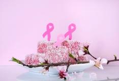 Ρόδινα κορδελλών ημέρας φιλανθρωπίας αυστραλιανά ύφους ρόδινα καρδιών κέικ lamington μορφής μικρά Στοκ Εικόνα
