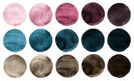 Ρόδινα, μπλε και καφετιά χρώματα συλλογής κύκλων Watercolor Στοκ Φωτογραφίες