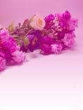 Ρόδινα λουλούδια ανθοδεσμών με το πορφυρό υπόβαθρο τόνου Στοκ Εικόνα