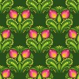 Ρόδινα λουλούδια στο σκούρο πράσινο υπόβαθρο Απεικόνιση αποθεμάτων