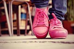 Ρόδινα πάνινα παπούτσια - εξαρτήματα και φορετός (πάνινα παπούτσια) Στοκ εικόνα με δικαίωμα ελεύθερης χρήσης