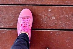 Ρόδινα πάνινα παπούτσια - εξαρτήματα και φορετός (πάνινα παπούτσια) Στοκ Εικόνες