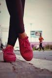Ρόδινα πάνινα παπούτσια - εξαρτήματα και φορετός (πάνινα παπούτσια) Στοκ φωτογραφία με δικαίωμα ελεύθερης χρήσης