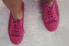 Ρόδινα πάνινα παπούτσια - εξαρτήματα και φορετός (πάνινα παπούτσια) Στοκ Εικόνα