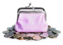 Ρόδινα πορτοφόλι και ρούβλι νομισμάτων Στοκ Εικόνα